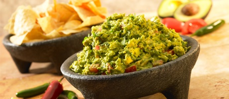 Handmade guacamole and tortilla chips
