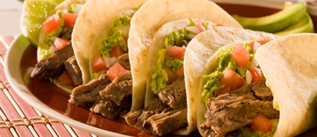 Authentic Mexican beef soft tacos