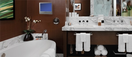 Double Queen room standard bathroom at Red Rock Casino Resort & Spa
