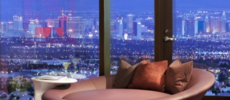 View of Las Vegas strip from the Lucky Suite inside Red Rock Casino Resort & Spa